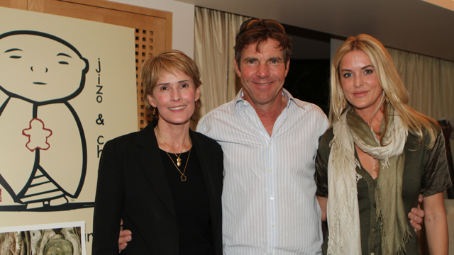 Dennis and Kimberly Quaid with Valerie Johns at the Jizo and Chibi Pre-Emmy Gift Suite